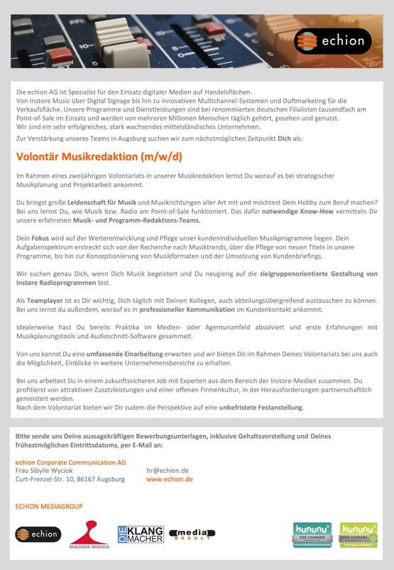echion sucht Volontär Musikredaktion (m/w/d)