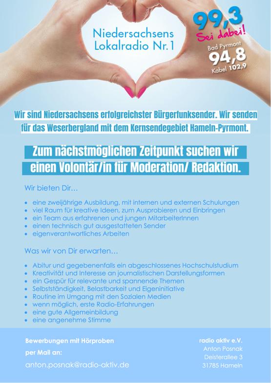 radio aktiv sucht Volontär/in für Moderation/Redaktion (m/w/d)