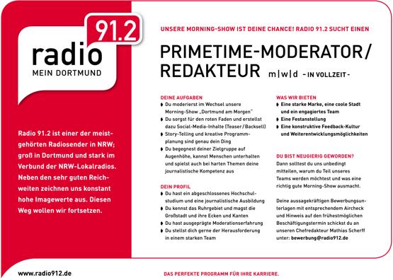 Radio 91.2 sucht Primetime-Moderator/Redakteur (m/w/d)