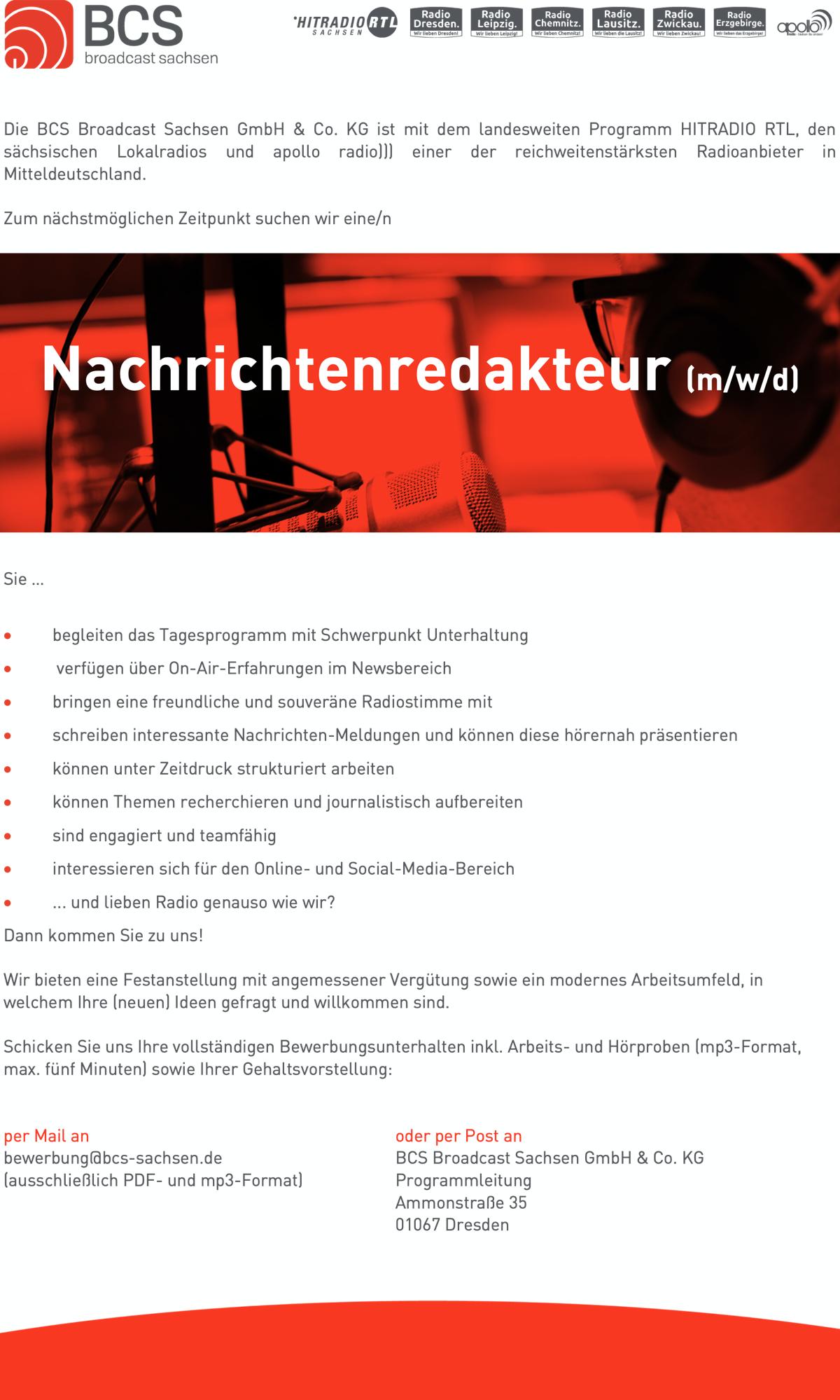 BCS broadcast sachsen sucht Nachrichtenredakteur (m/w/d)