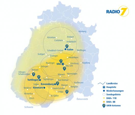 Radio7-Sendegebiet über UKW und DAB+