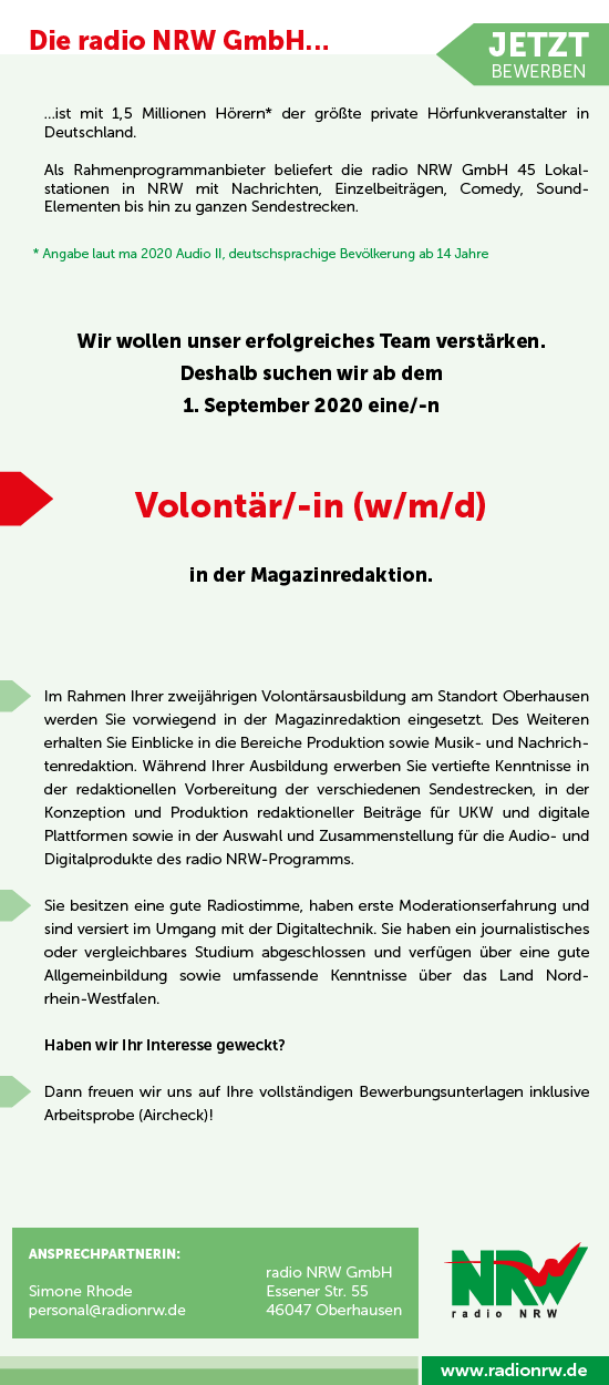radio NRW sucht Volontär/in (w/m/d)