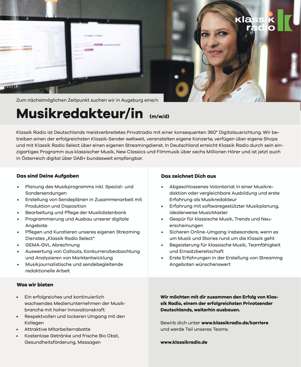Klassik Radio sucht Musikredakteur/in (m/w/d)