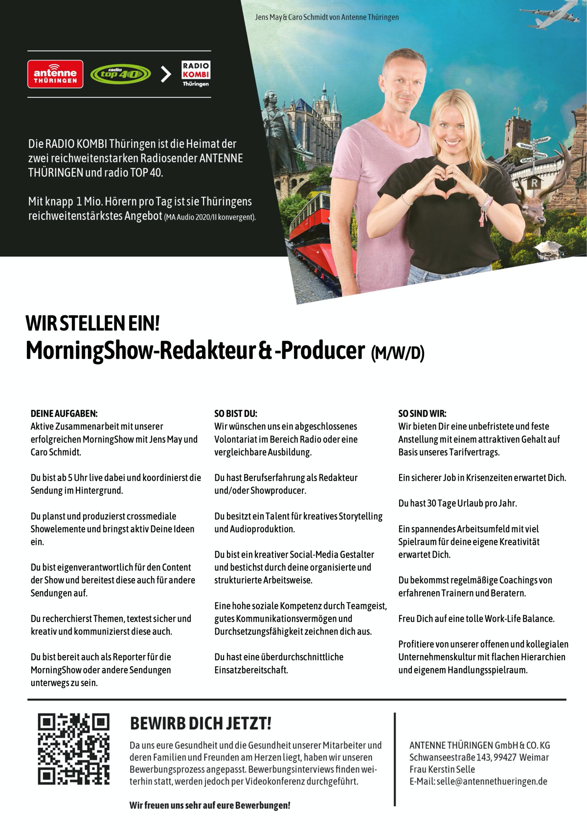 ANTENNE THÜRINGEN sucht MorningShow-Redakteur und -Producer (m/w/d)