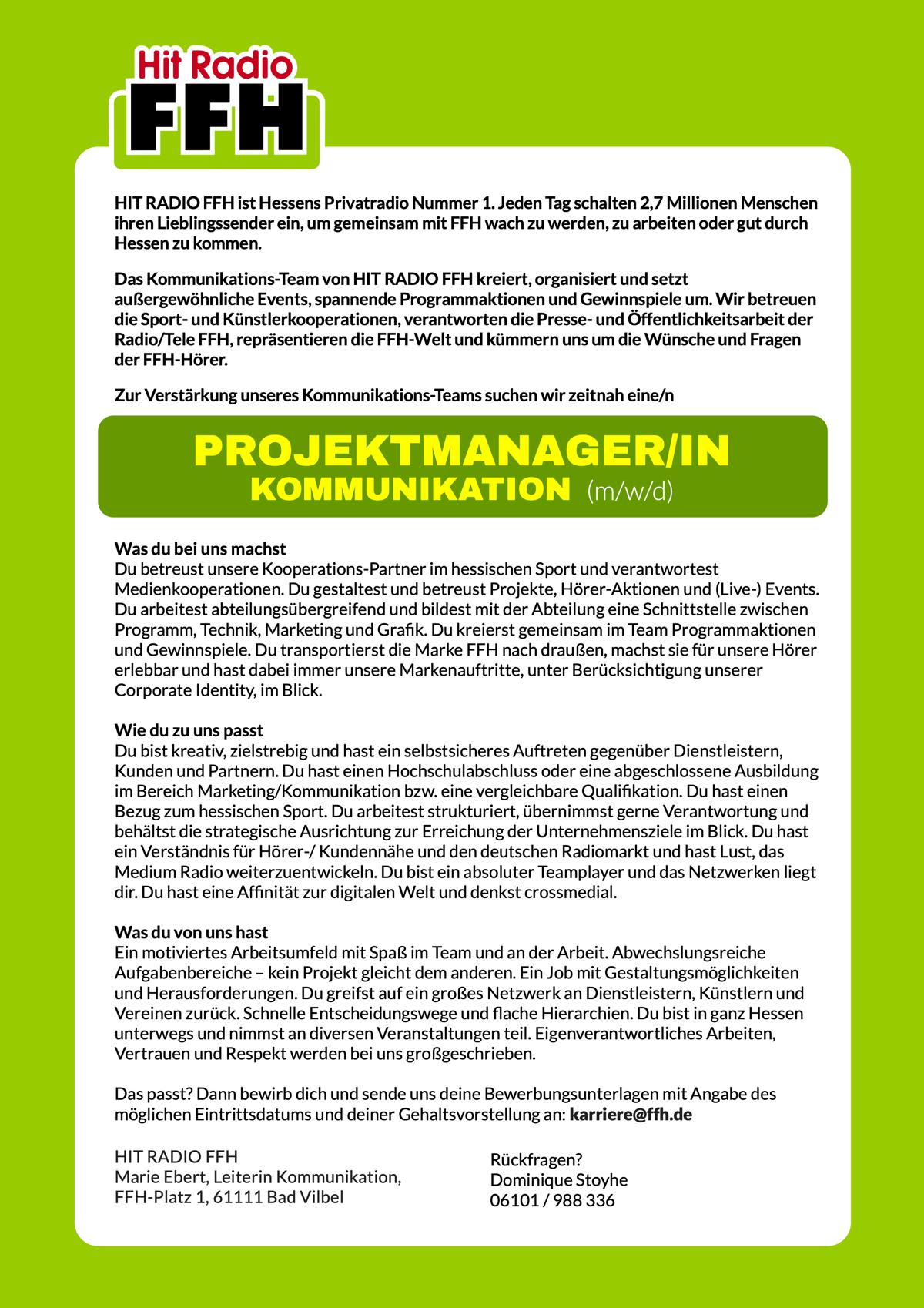 HIT RADIO FFH sucht Projektmanager/in Kommunikation (m/w/d)