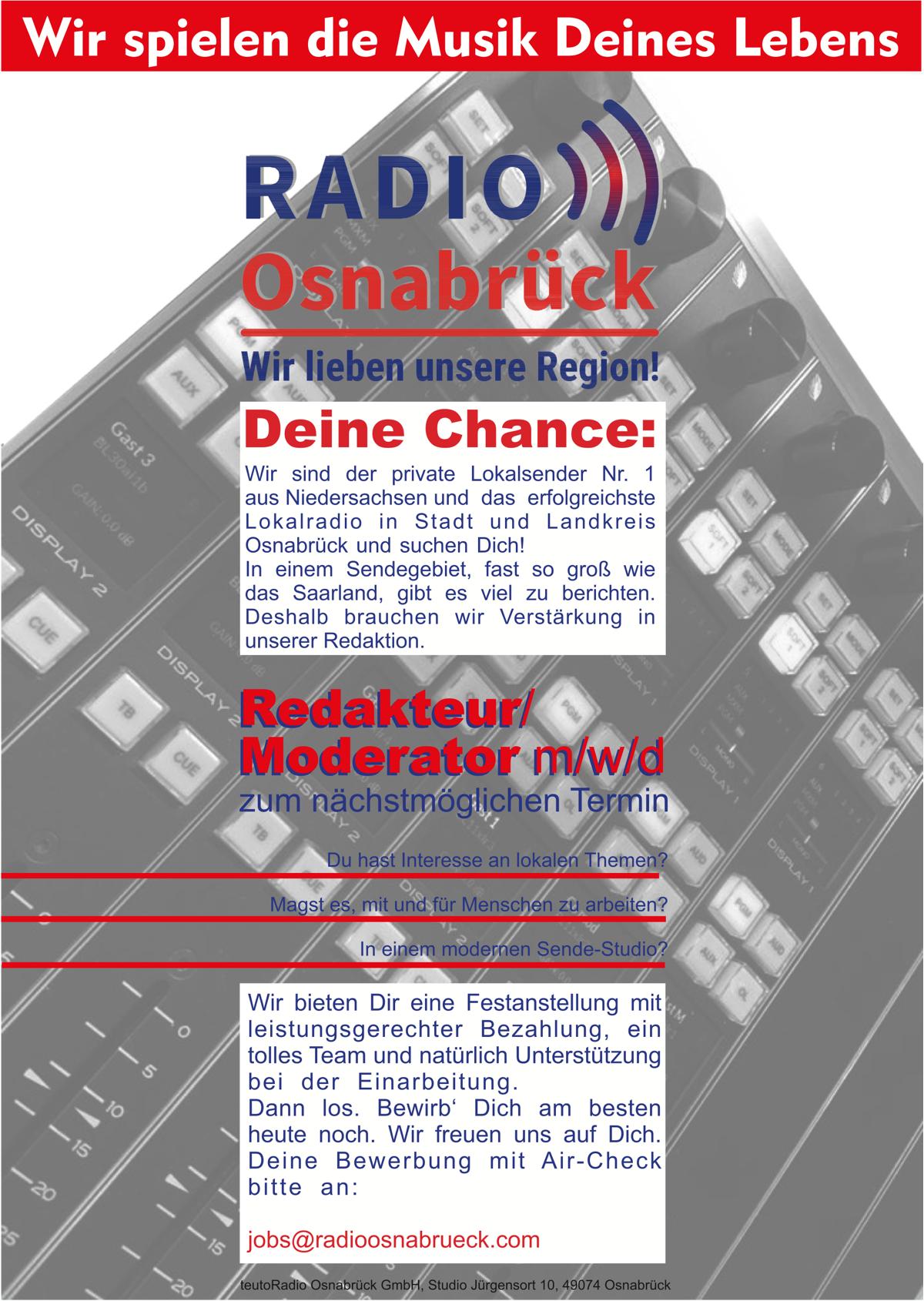 Radio Osnabrück sucht Redakteur/Moderator (m/w/d)