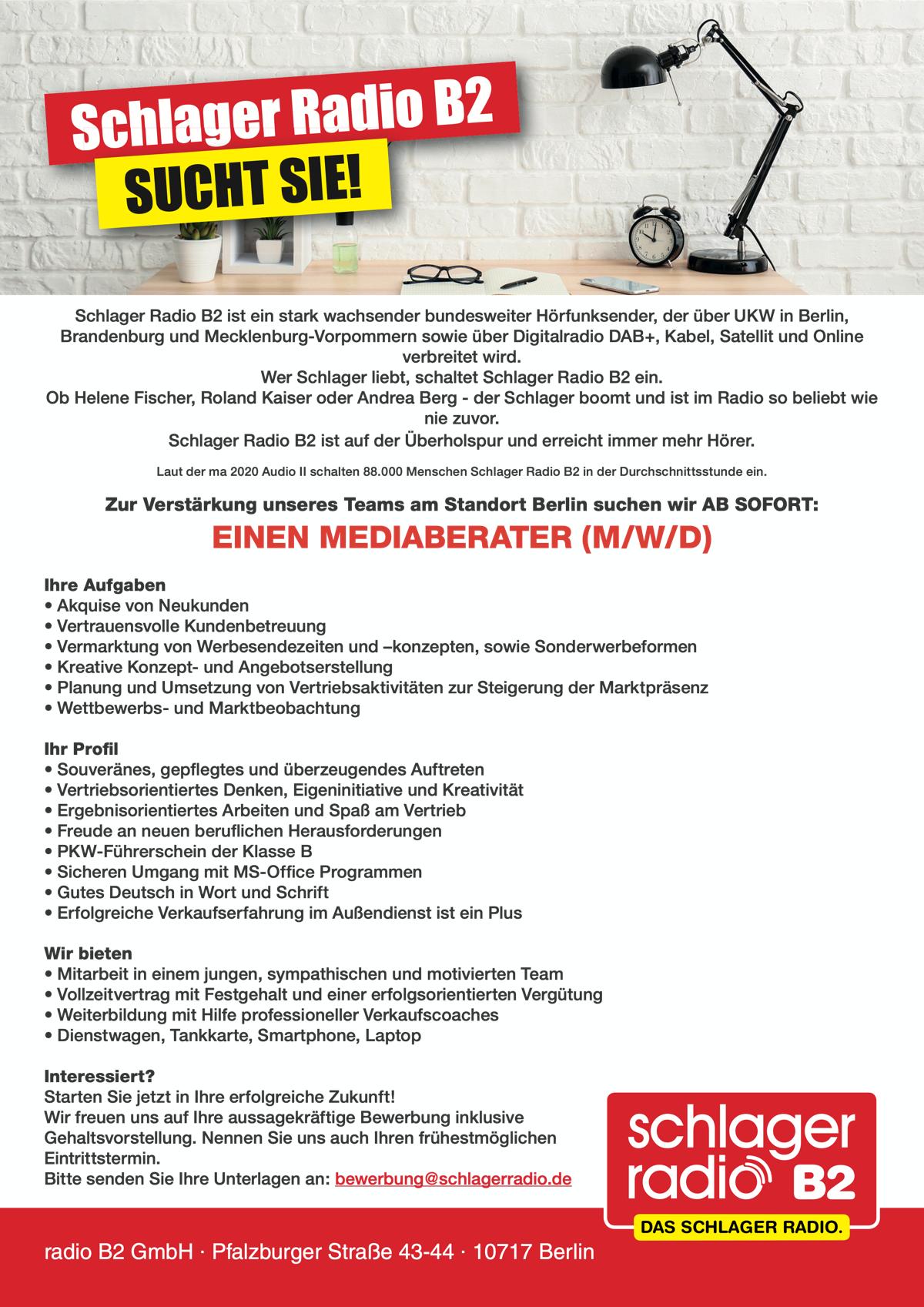 Schlager Radio B2 sucht Mediaberater (m/w/d)