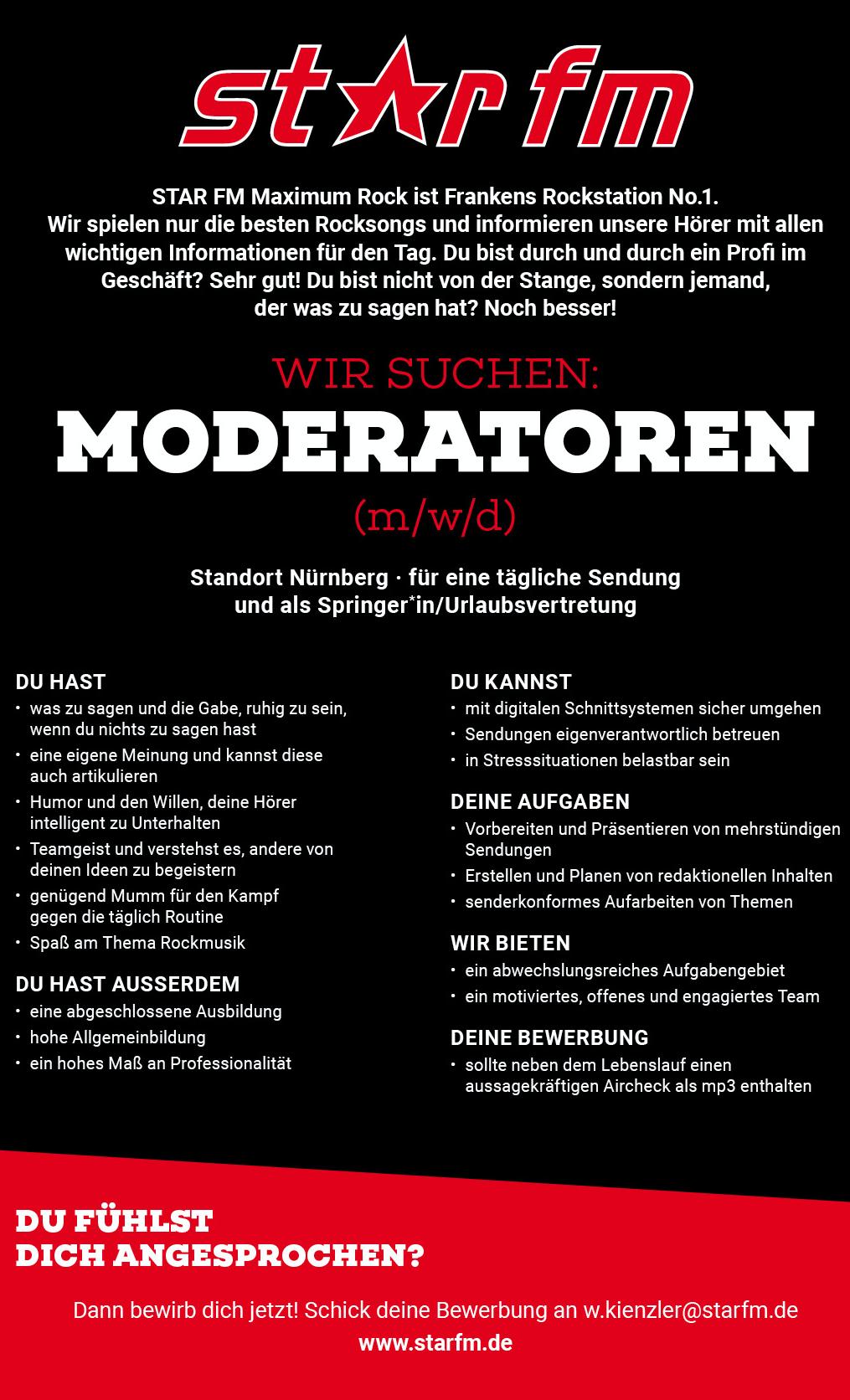 STAR FM Nürnberg sucht Moderatoren (m/w/d)