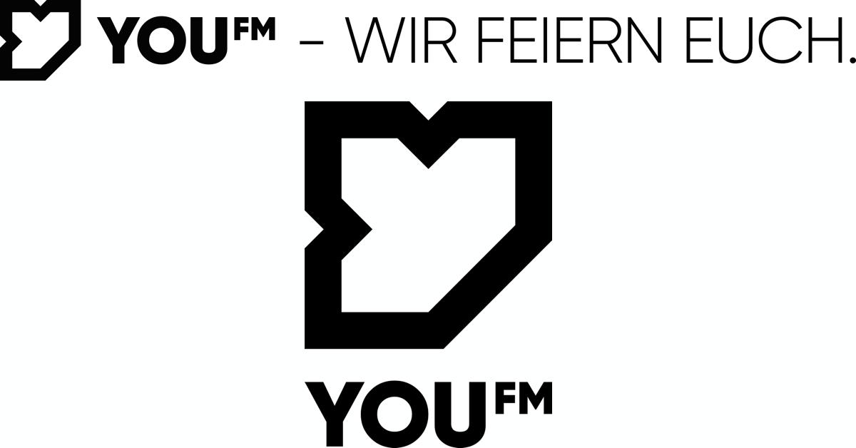 """YOUFM-Logo 2020 (mit Claim """"Wir feiern Euch."""")"""