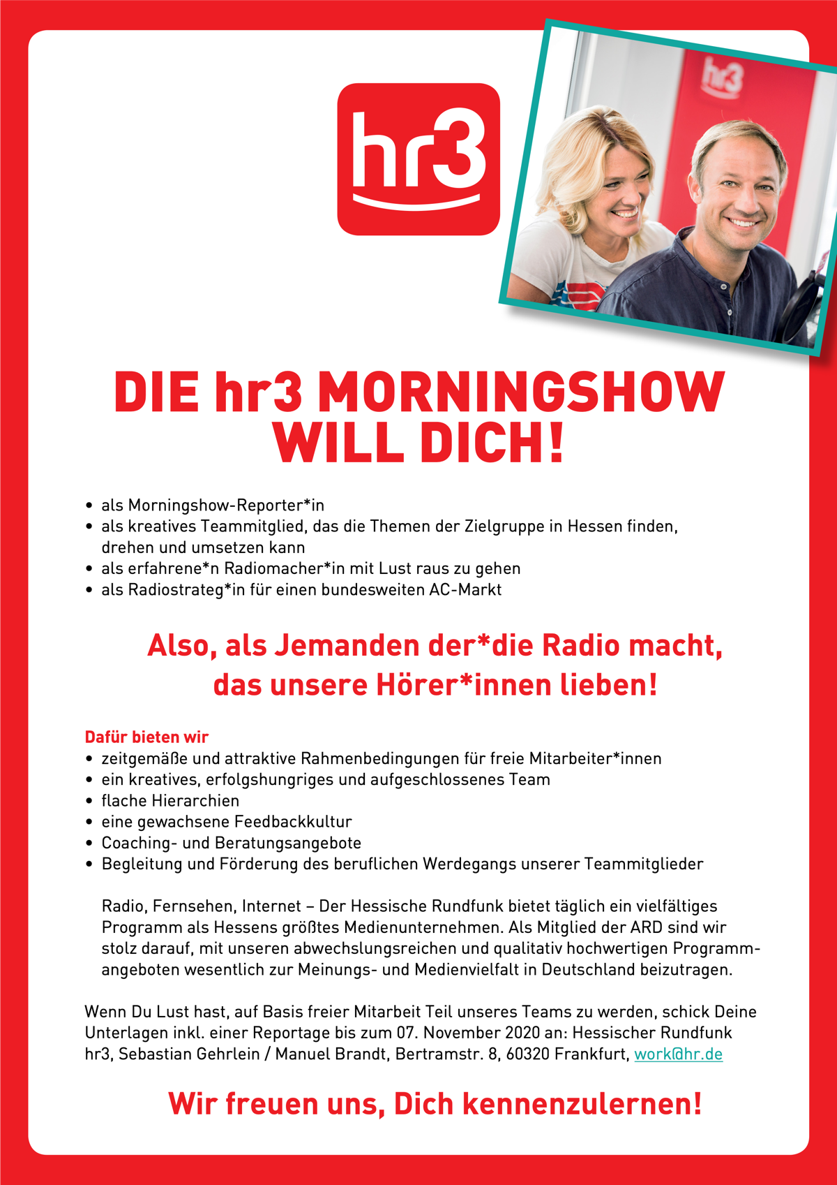 hr3 sucht Morningshow-Reporter*in