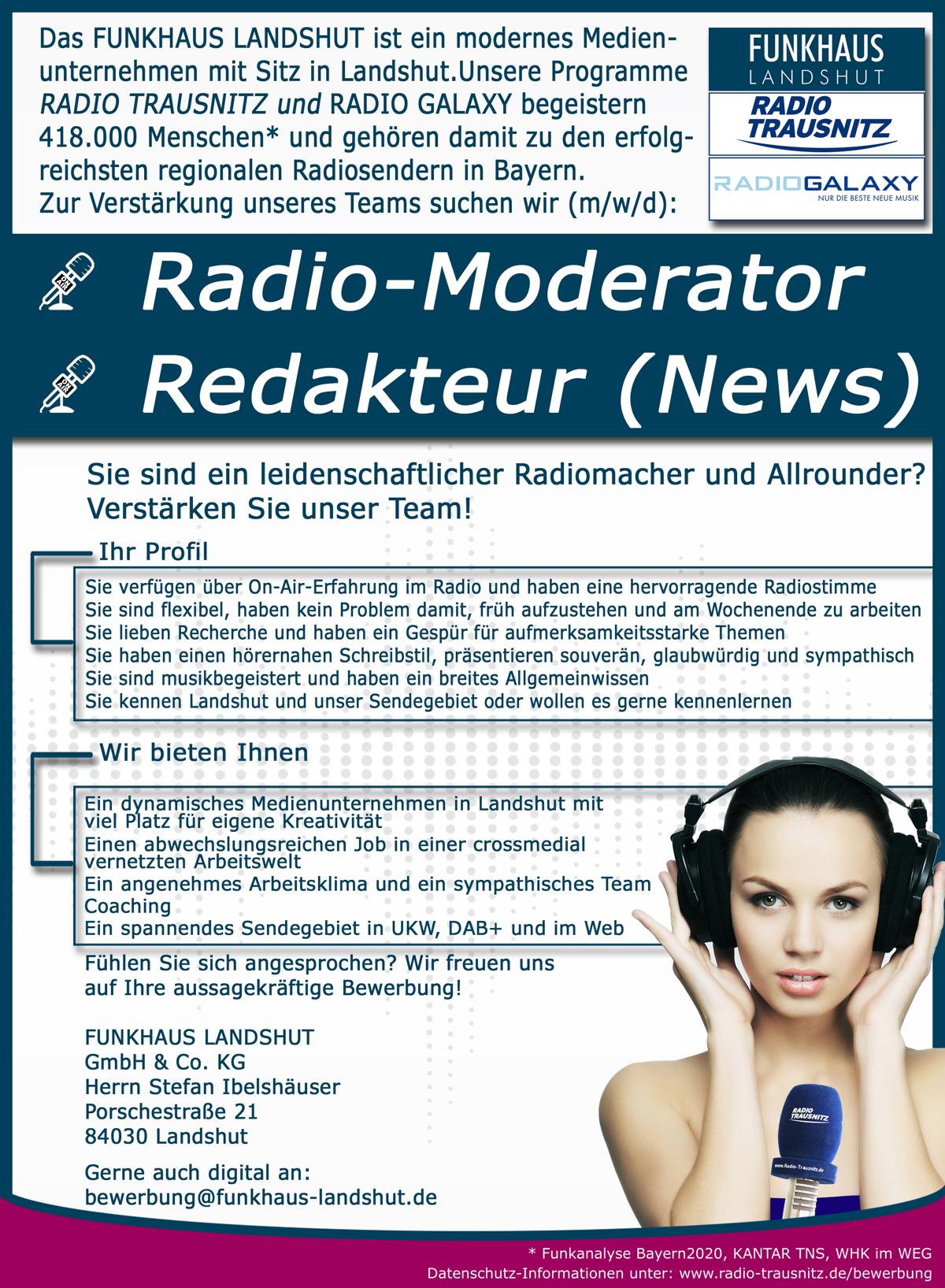 Funkhaus Landshut sucht Radio-Moderator, Redakteur (News) (m/w/d)