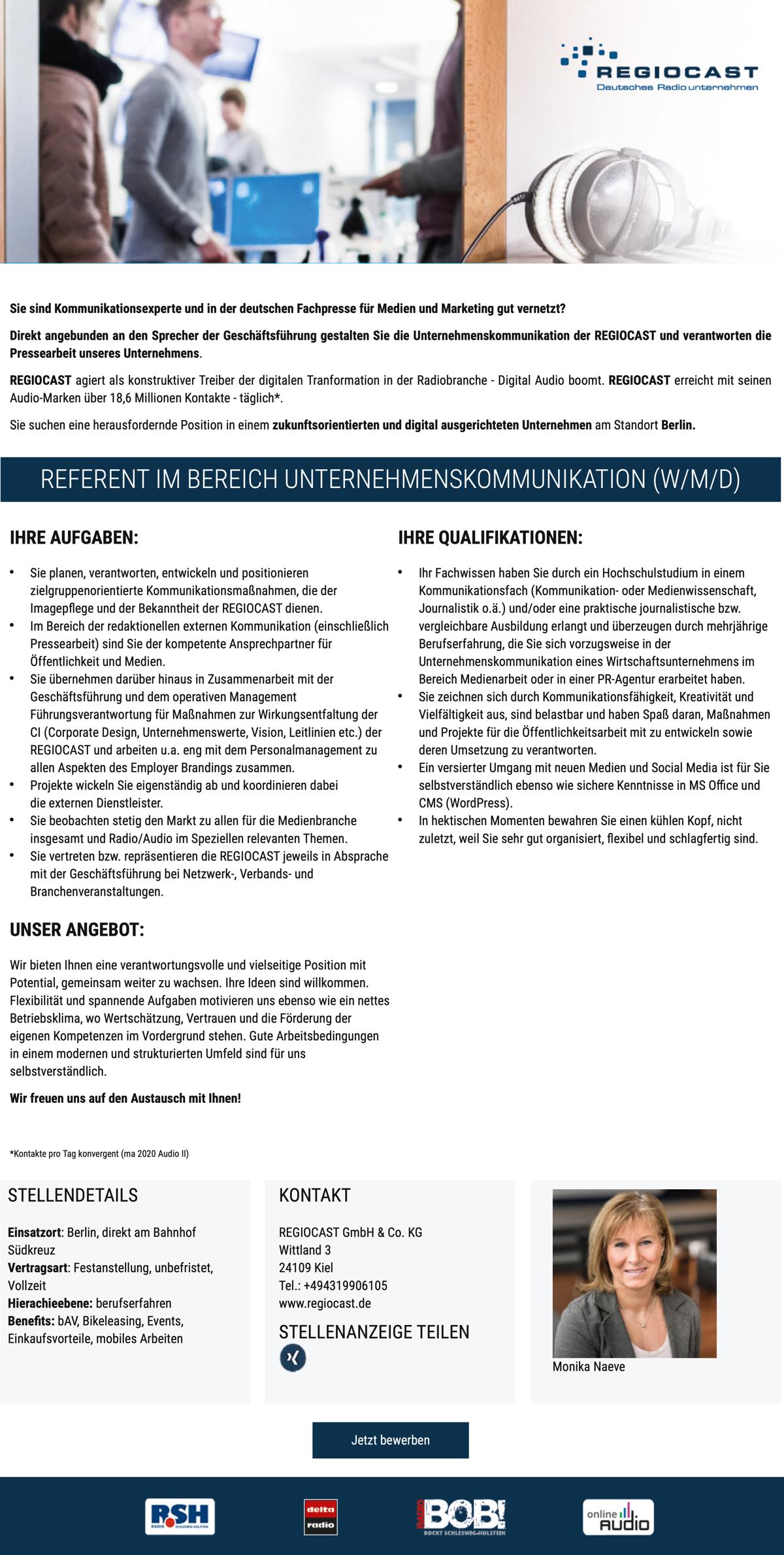 REGIOCAST sucht Referent im Bereich Unternehmenskommunikation (w/m/d)