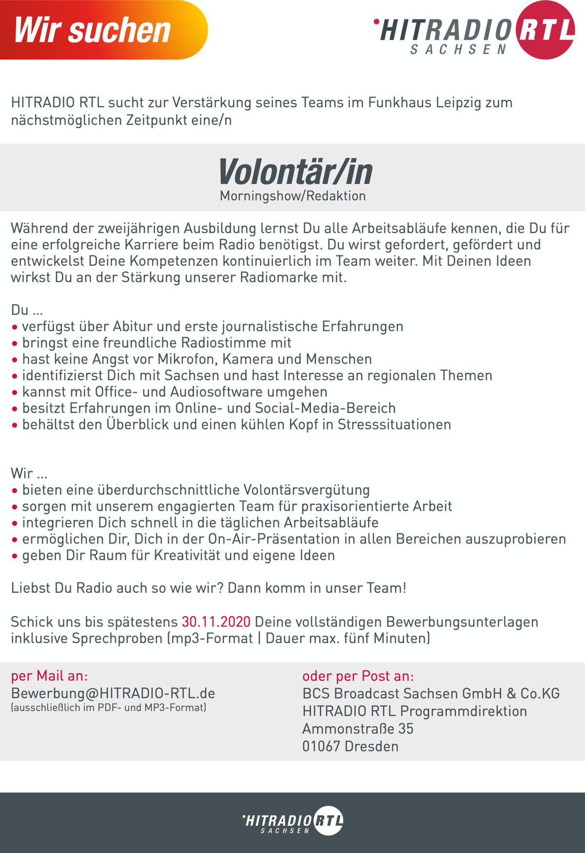 HITRADIO RTL sucht Volontär/in Morningshow/Redaktion
