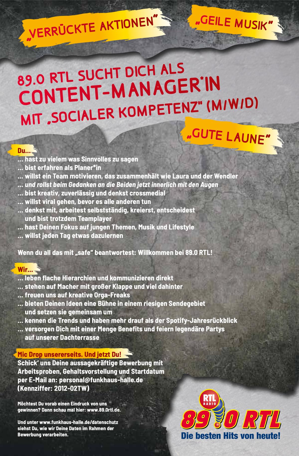 "89.0 RTL sucht Content-Manager*in mit ""socialer Kompetenz"" (m/w/d)"
