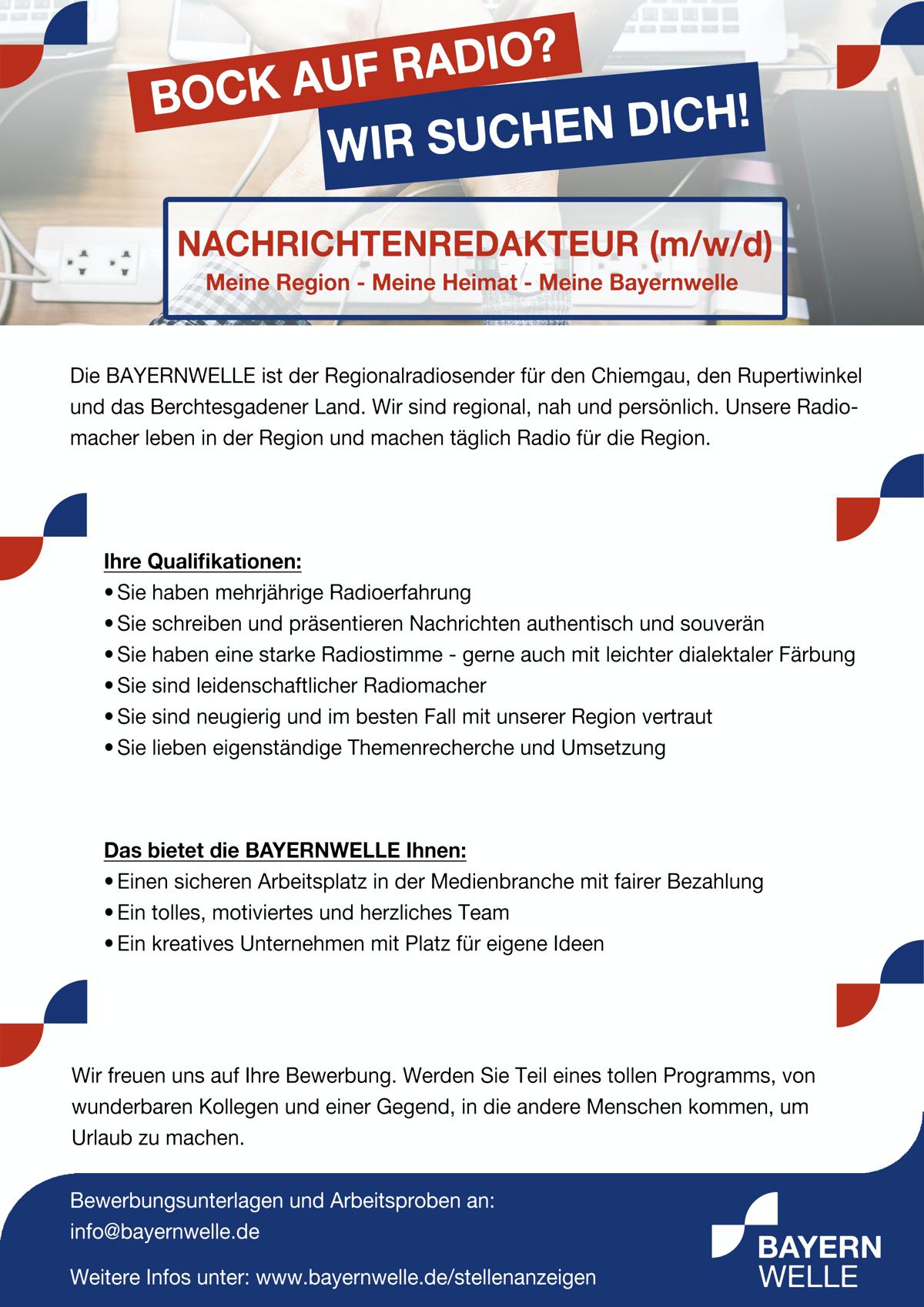 Bayernwelle sucht Nachrichtenredakteur (m/w/d)