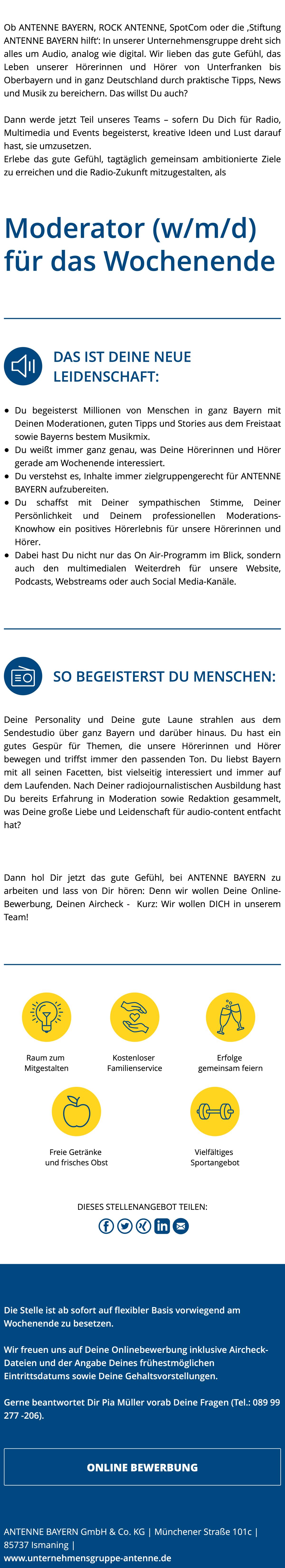 ANTENNE BAYERN sucht Moderator (w/m/d) für das Wochenende