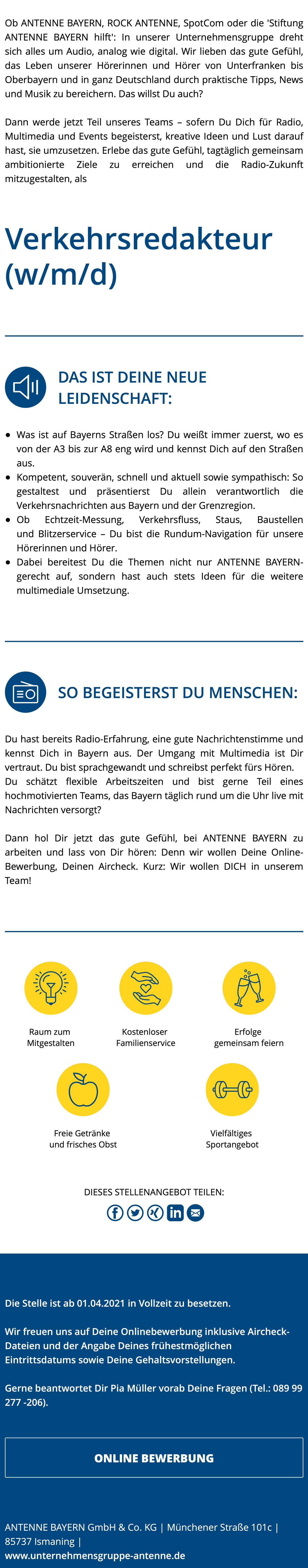 ANTENNE BAYERN sucht Verkehrsredakteur (w/m/d)