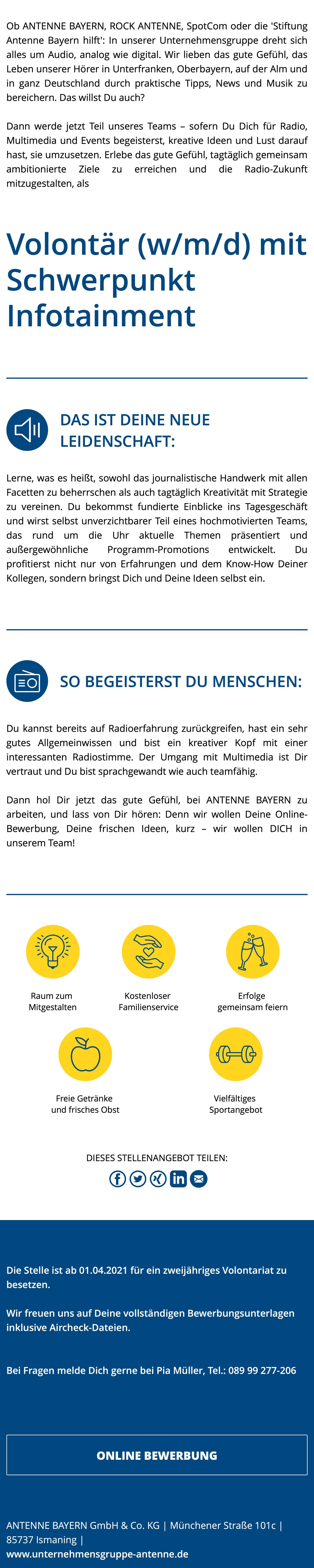 ANTENNE BAYERN sucht Volontär (w/m/d) mit Schwerpunkt Infotainment