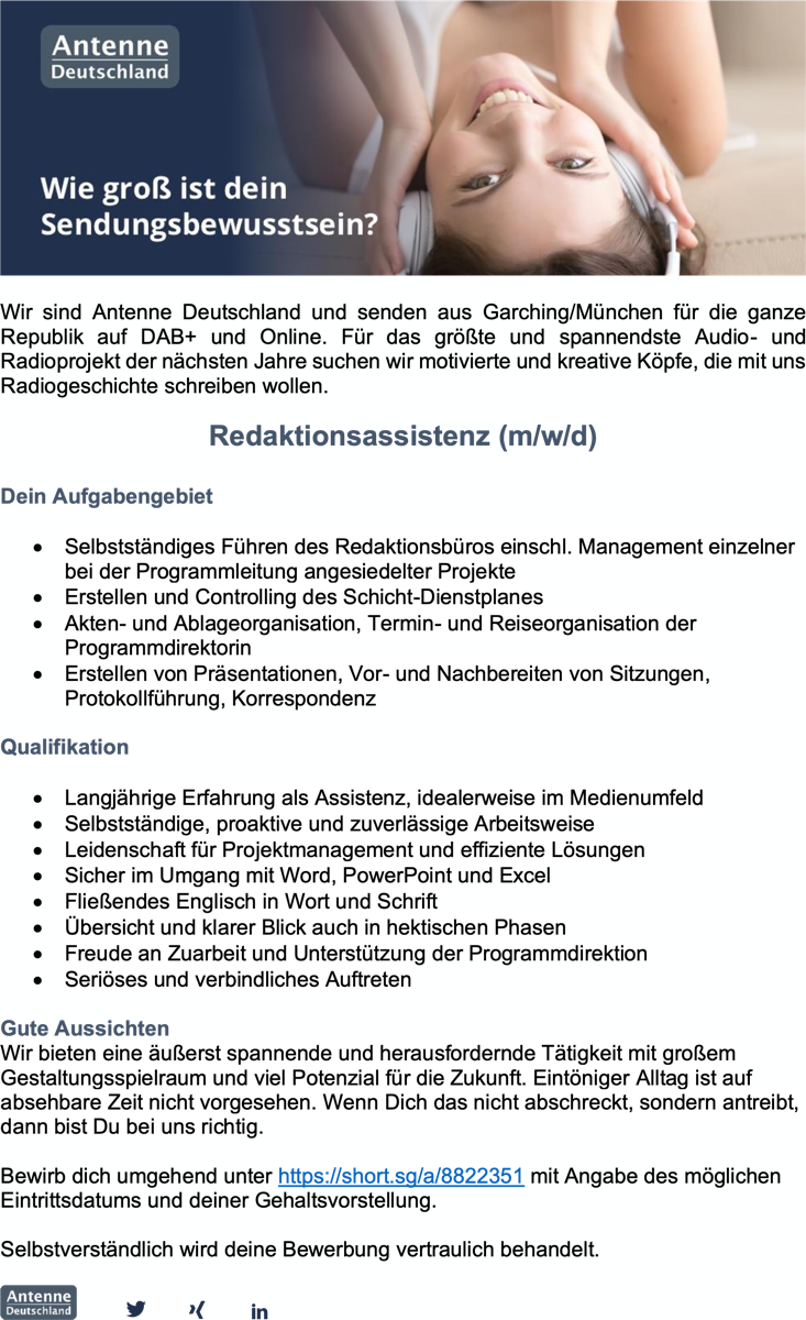 Antenne Deutschland sucht Redaktionsassistenz (m/w/d)