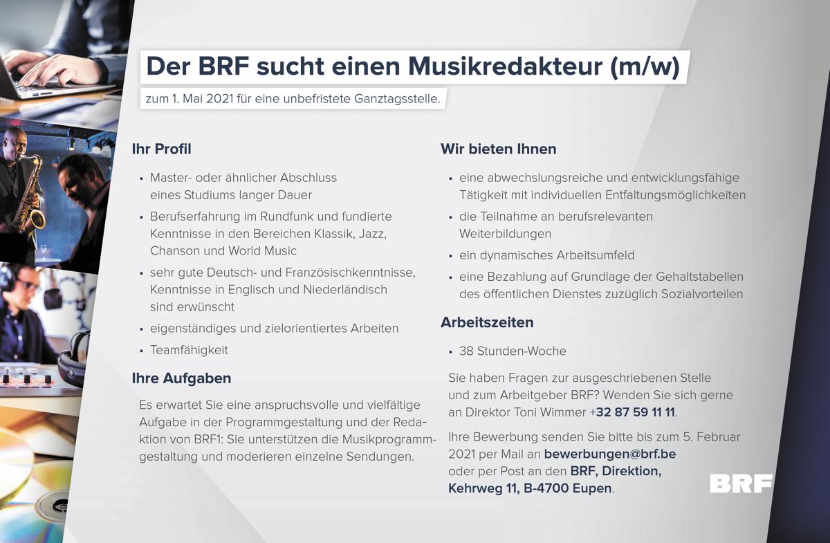 BRF sucht zum 1. Mai 2021 einen Musikredakteur (m/w)