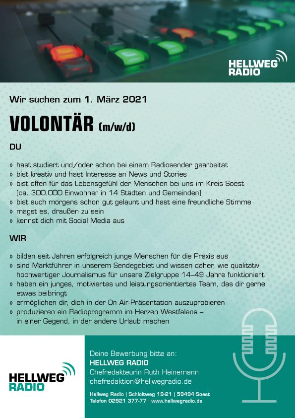 HELLWEG RADIO sucht zum 1. März 2021 Volontär (m/w/d)