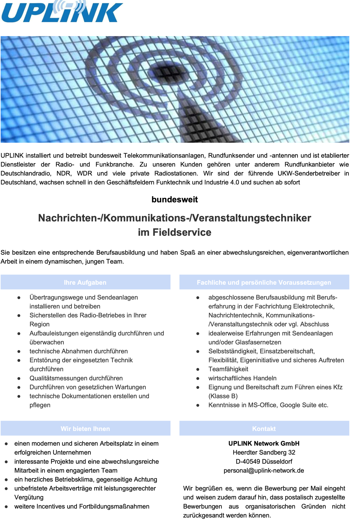 UPLINK sucht Nachrichten-/Kommunikations-/Veranstaltungstechniker (m/w/d)