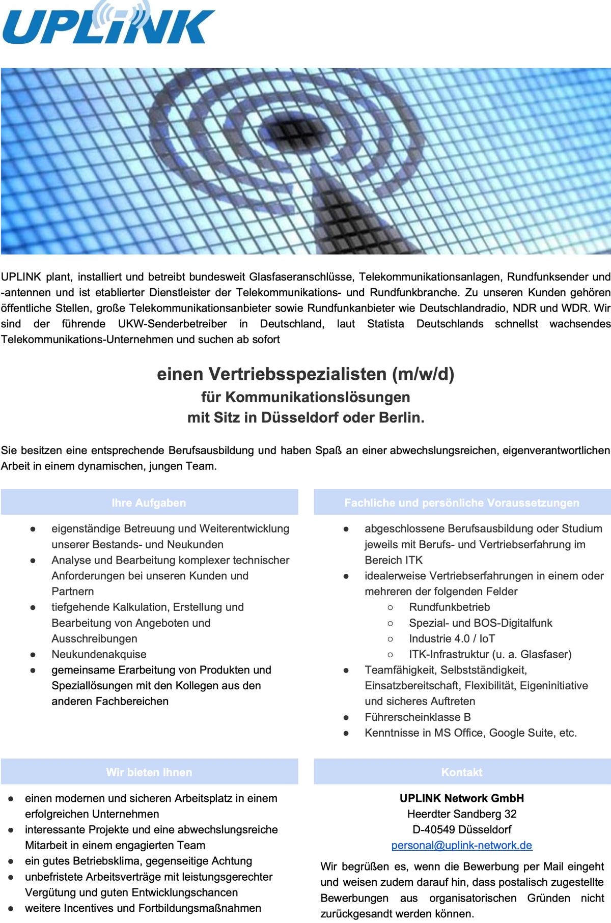 UPLINK sucht Vertriebsspezialist (m/w/d)