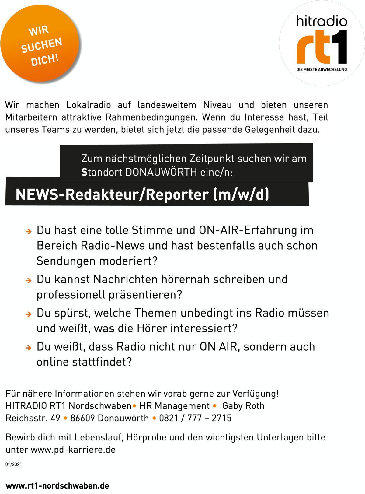 HITRADIO RT1 Nordschwaben sucht NEWS-Redakteur/Reporter (m/w/d)
