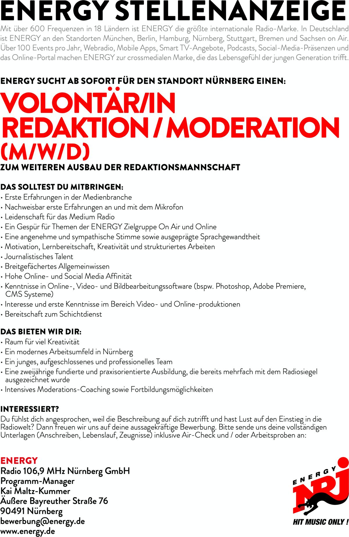 ENERGY Nürnberg sucht Volontär/in Redaktion/Moderation (m/w/d)
