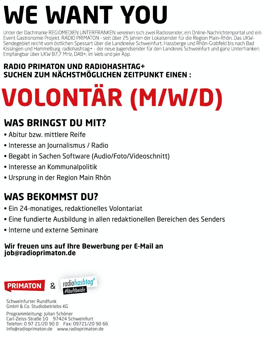 Radio Primaton und radio hashtag+ suchen Volontär (m/w/d)