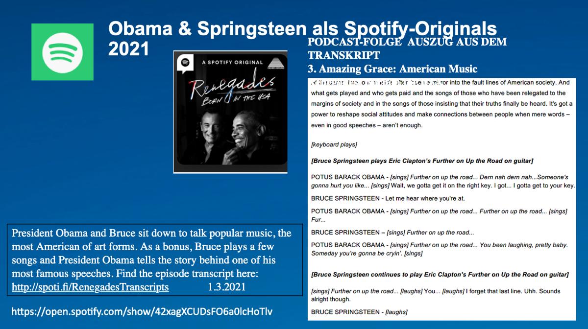 Obama & Springsteen als Spotify-Originals