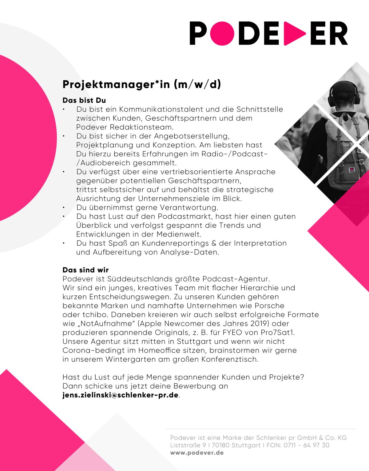 PODEVER sucht Projektmanager (m/w/d)
