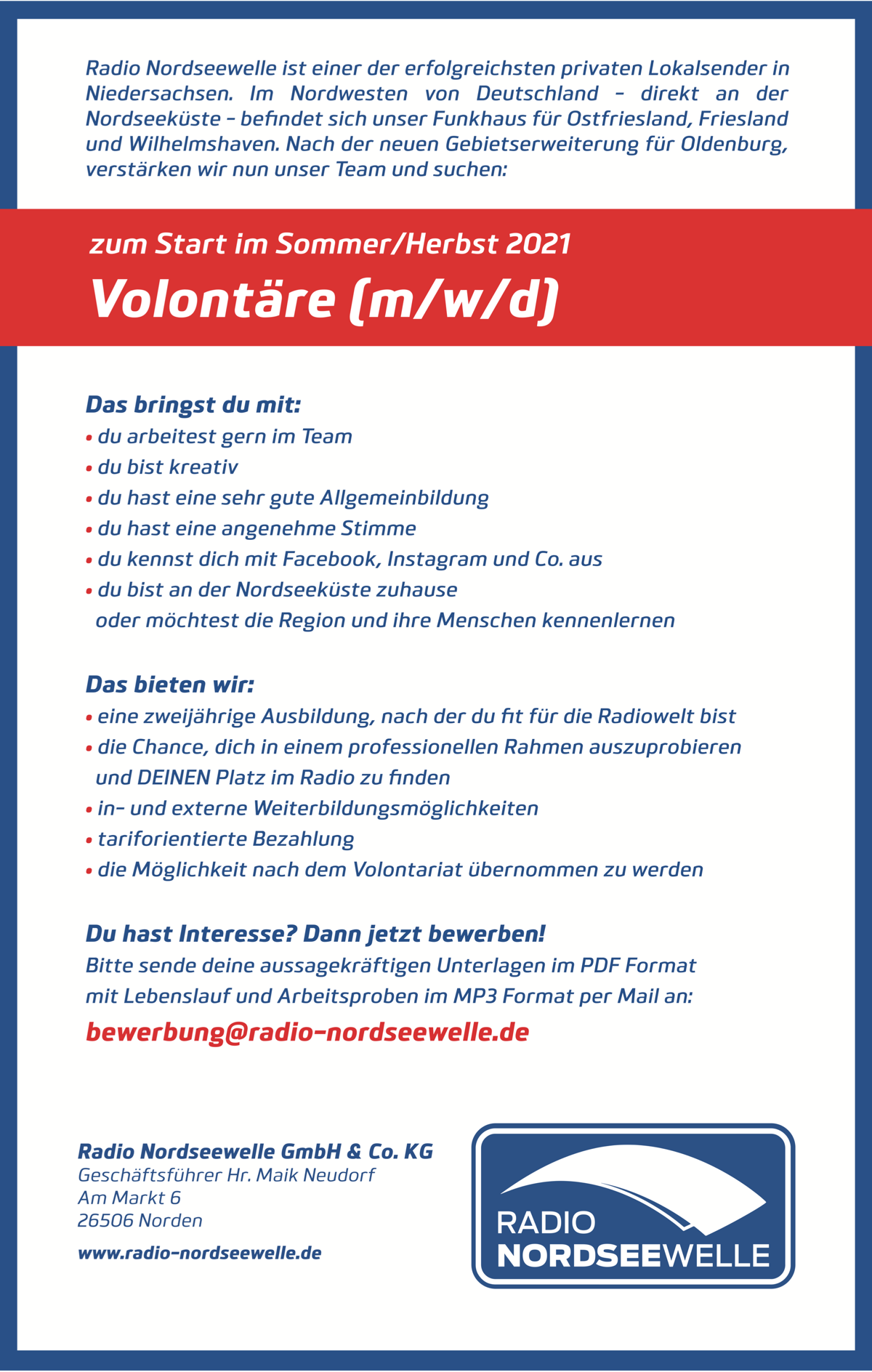 Radio Nordseewelle sucht Volontäre (m/w/d)