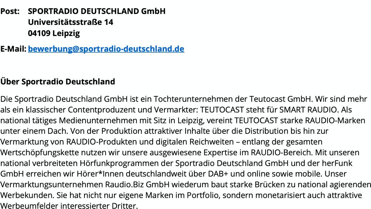 SPORTRADIO DEUTSCHLAND sucht Nachrichtenredakteur/-sprecher (w/m/d)