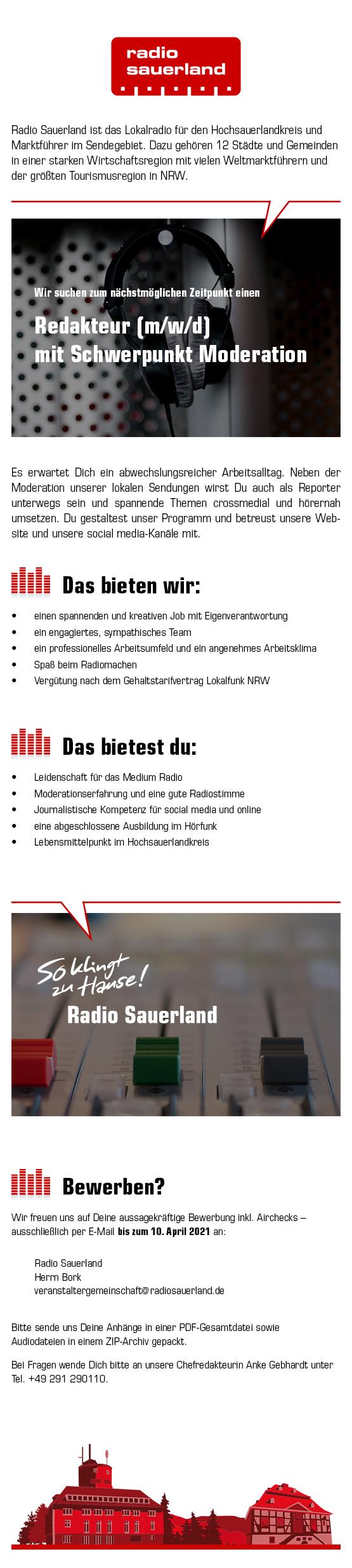 Radio Sauerland sucht Redakteur (m/w/d) mit Schwerpunkt Moderation