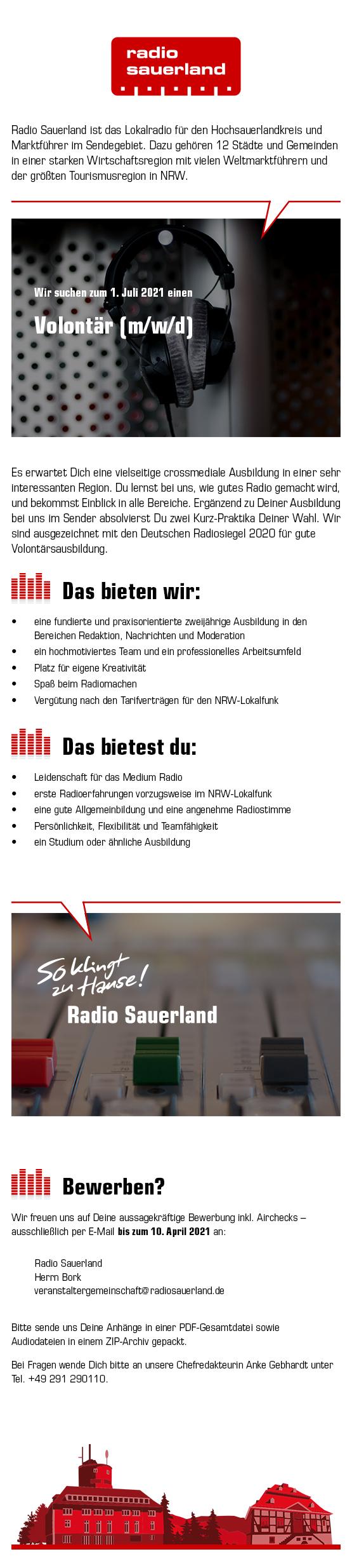 Radio Sauerland sucht Volontär (m/w/d)