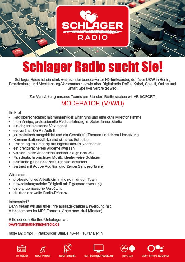 Schlager Radio sucht Moderator (m/w/d)