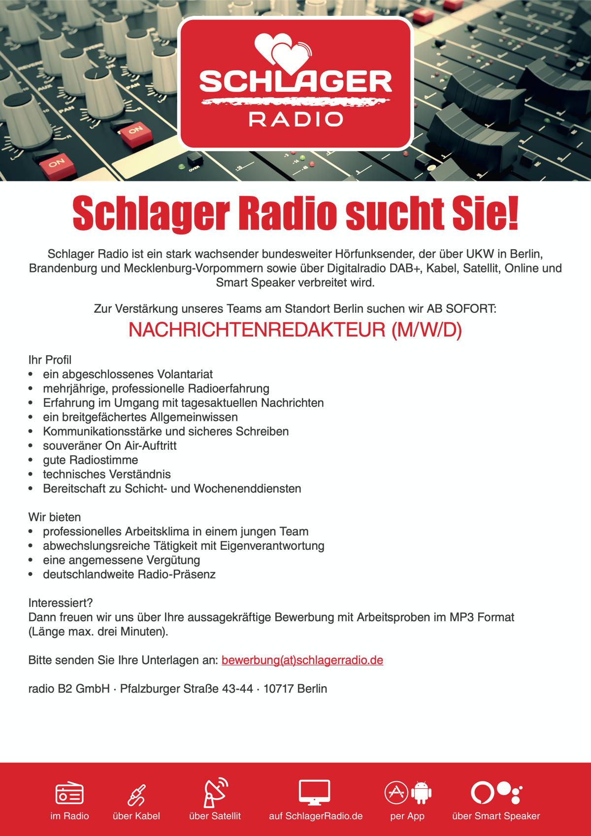 Schlager Radio sucht Nachrichtenredakteur (m/w/d)