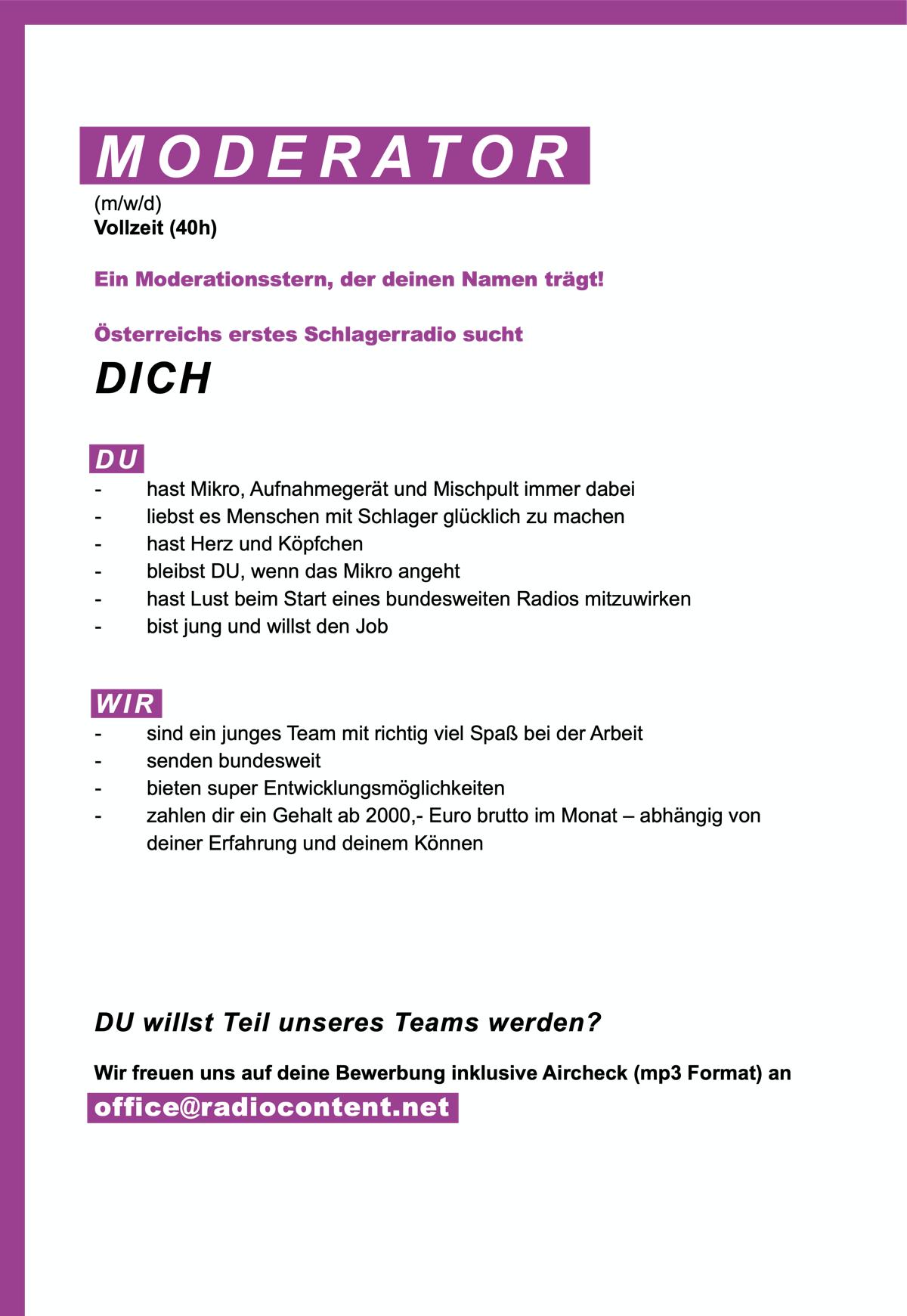 Österreichs erstes Schlagerradio sucht Moderator (m/w/d)