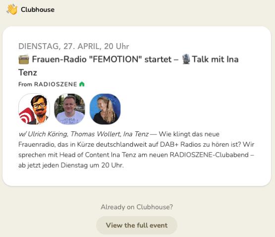 """Frauen-Radio """"FEMOTION"""" startet – Radiotalk mit Ina Tenz"""