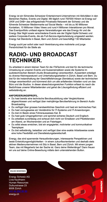 ENERGY Schweiz sucht Radio- und Broadcast-Techniker (m/w/d)