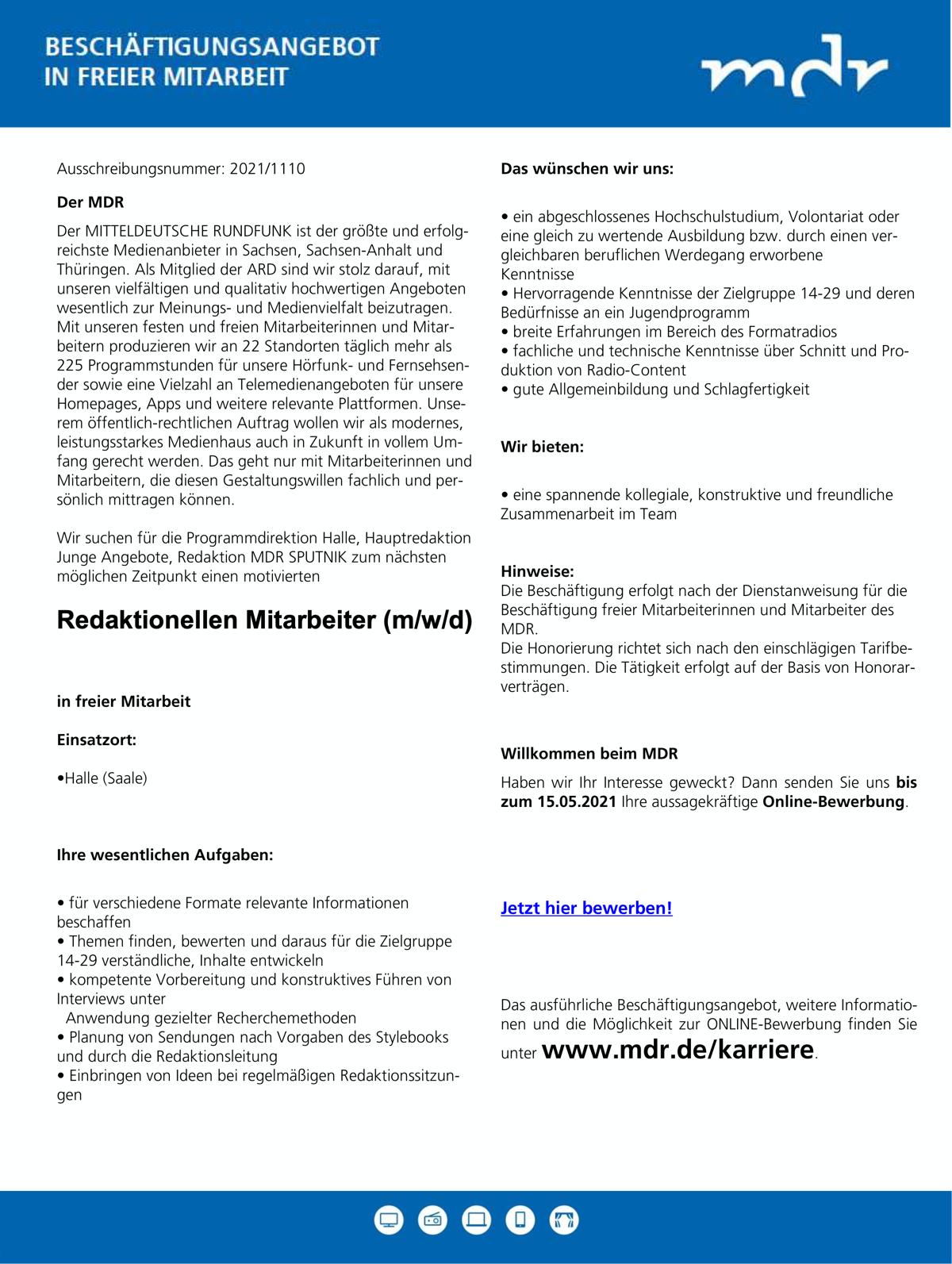 MDR sucht redaktionellen Mitarbeiter (m/w/d)