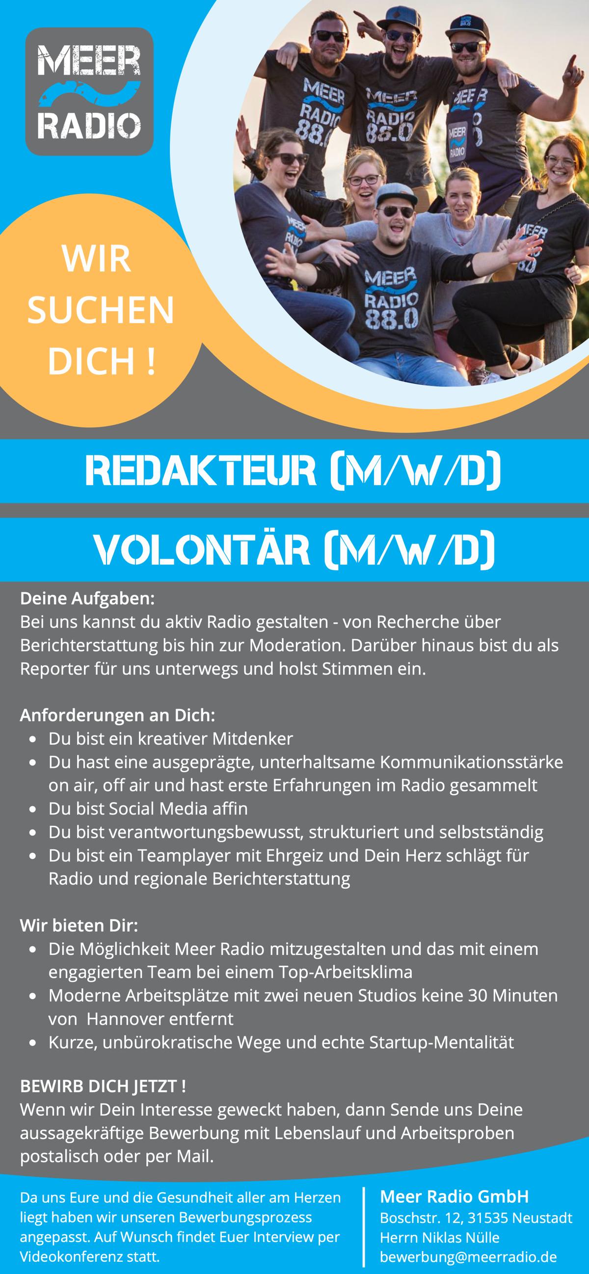 MEER RADIO sucht Redakteur (m/w/d)