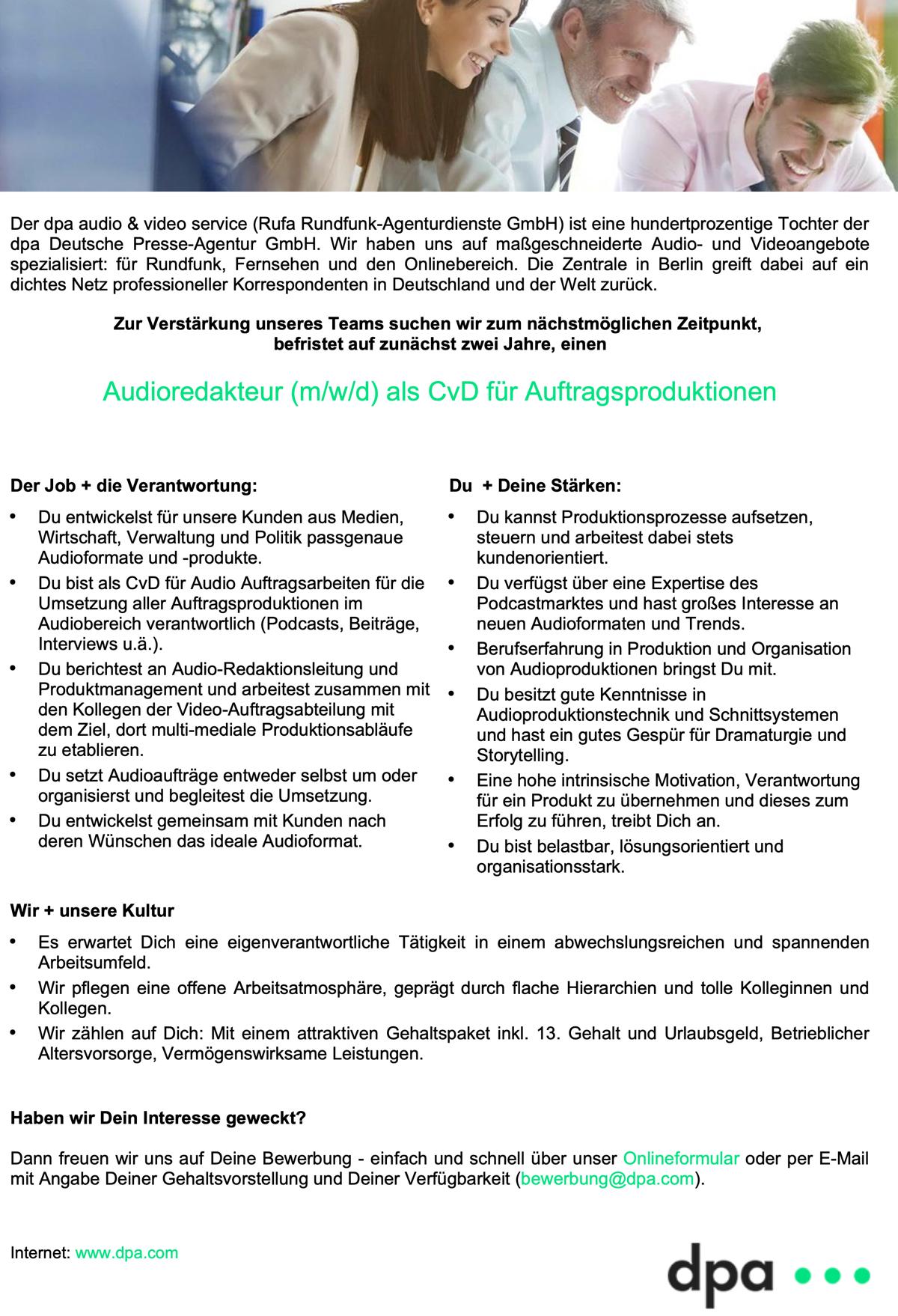dpa audio & video service sucht Audioredakteur (m/w/d) als CvD für Auftragsproduktionen