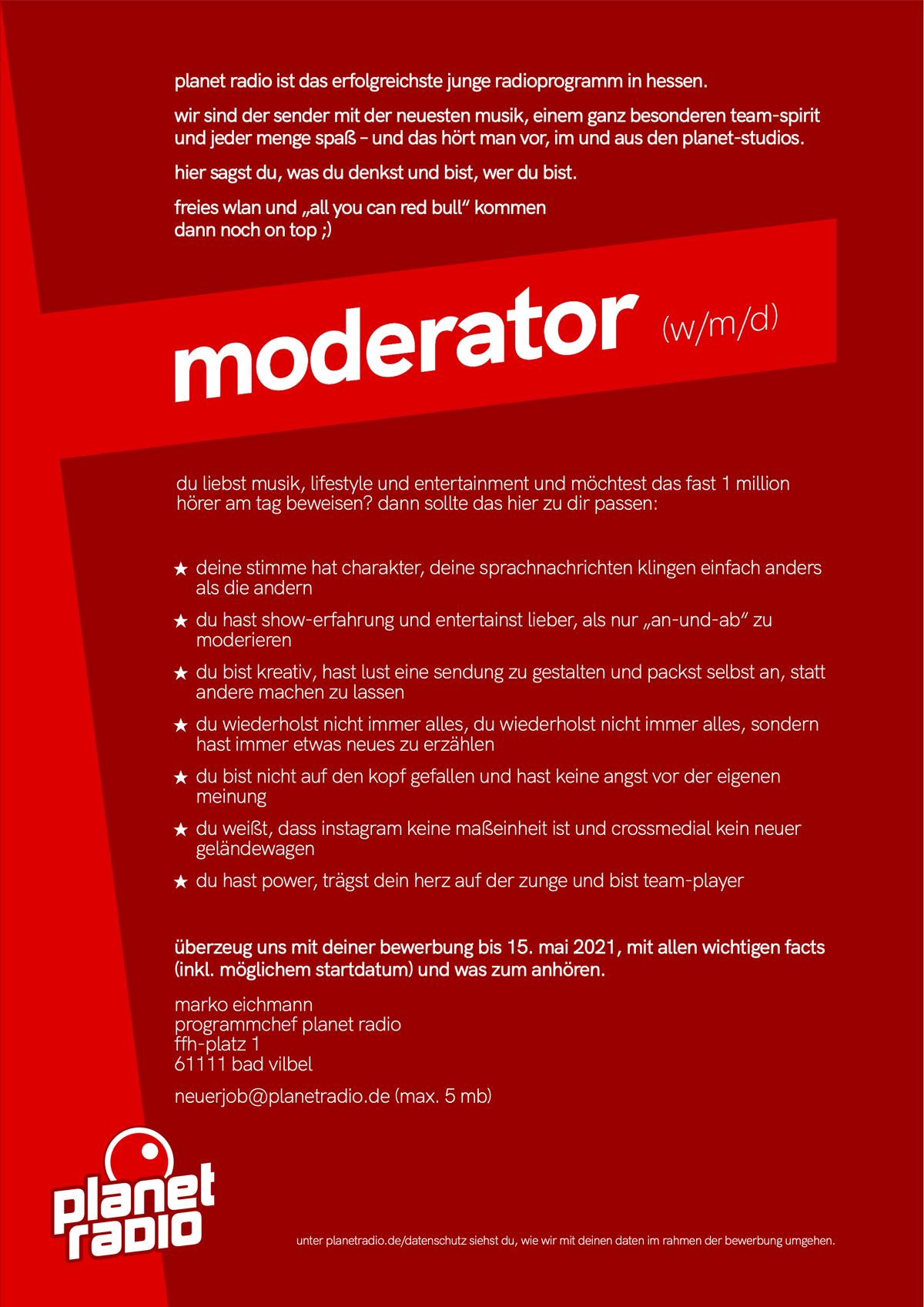 planet radio sucht moderator (w/m/d)