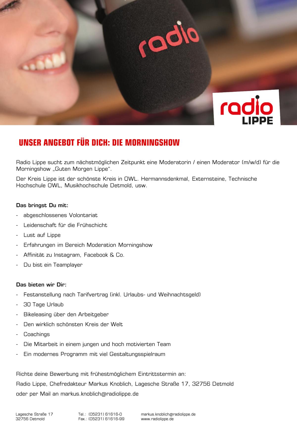 Radio Lippe sucht Moderator/in (m/w/d)
