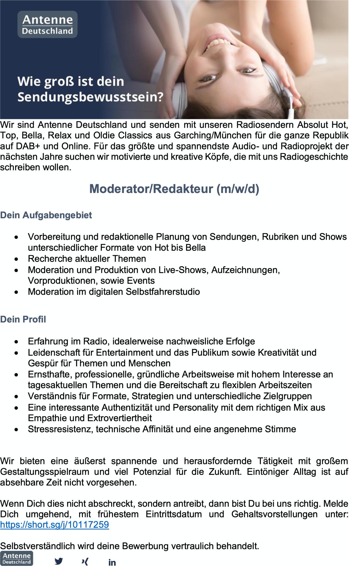 Antenne Deutschland sucht Moderator/Redakteur (m/w/d)