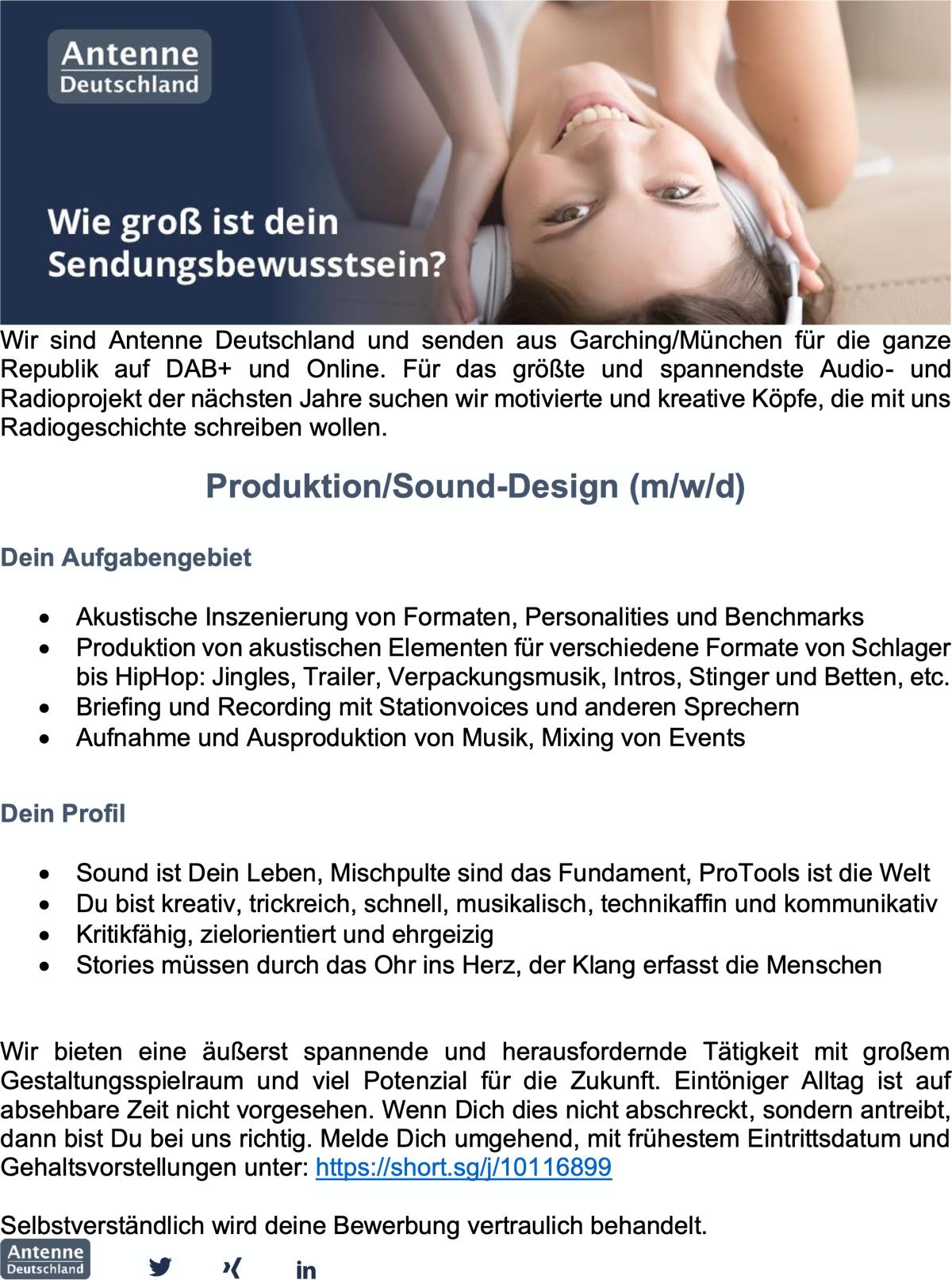 Antenne Deutschland sucht Produzent/Sound-Designer (m/w/d)