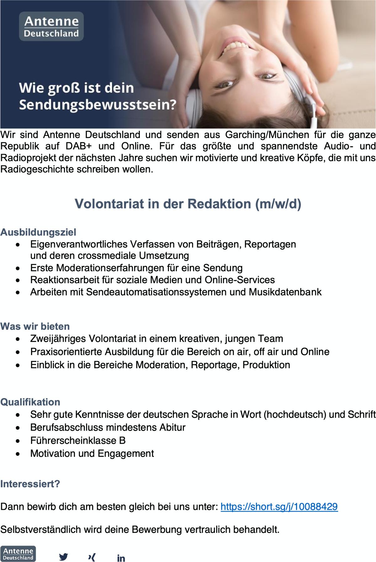Antenne Deutschland bietet Volontariat in der Redaktion (m/w/d)