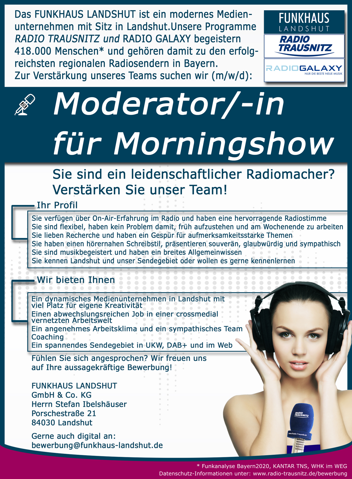 Funkhaus Landshut sucht Moderator/in für Morningshow (m/w/d)